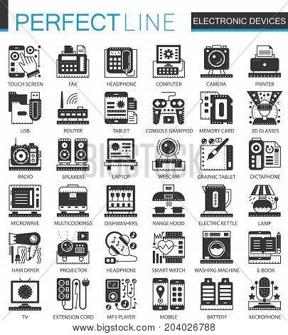 Electronic devices classic black mini concept symbols. Vector gadgets modern icon pictogram illustrations set