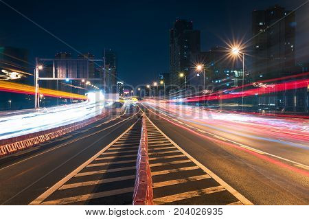 Traffic at night on a chinese elevated highway, Chengdu, China
