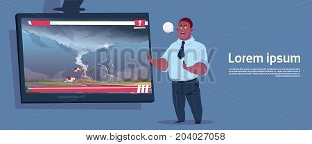 African American Man Leading Live TV Broadcast About Tornado Destroying Farm Hurricane Damage News Of Storm Waterspout In Countryside Natural Disaster Concept Flat Vector Illustration