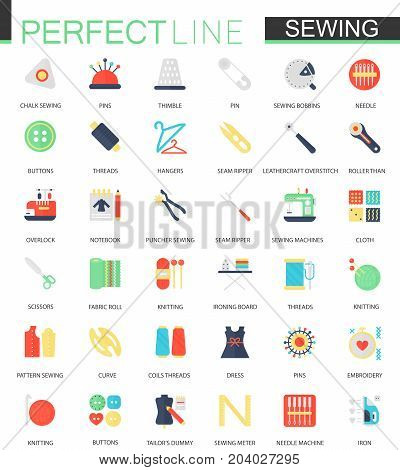 Vector set of flat needlework and sewing equipment icons isolated