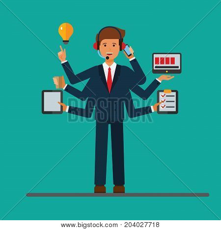 Multitasking successfull businessman at work in business office. Vector flat concept illustration