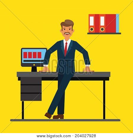 Successfull businessman standing near office table. Flat vector illustration concept