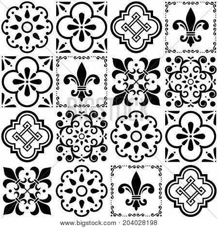 Portuguese vector tiles pattern, Lisbon seamless black and white tile design, Azulejos vintage geometric ceramics