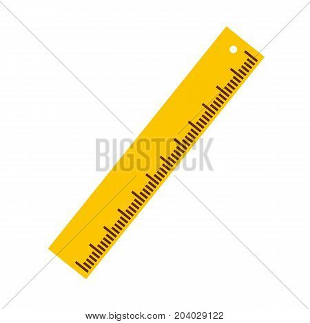 Yellow ruler icon in flat style isolated on background. Vector stock.