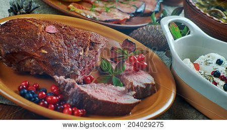 Scandinavian cuisine. Poronkaristys Finnish venison; Top view. Northern European food poster