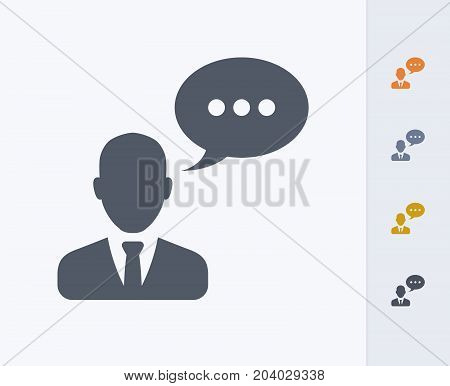 Talking Businessman Avatar - Carbon Icons. A professional, pixel-perfect icon designed on a 32x32 pixel grid and redesigned on a 16x16 pixel grid for very small sizes