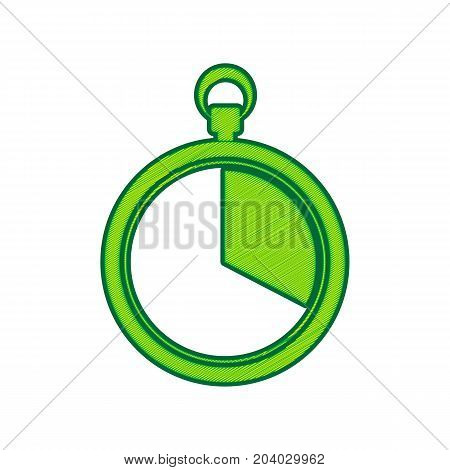 The 20 seconds, minutes stopwatch sign. Vector. Lemon scribble icon on white background. Isolated