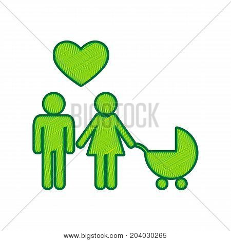 Family symbol with pram and heart. Husband and wife are kept each other's hands. Love. Vector. Lemon scribble icon on white background. Isolated