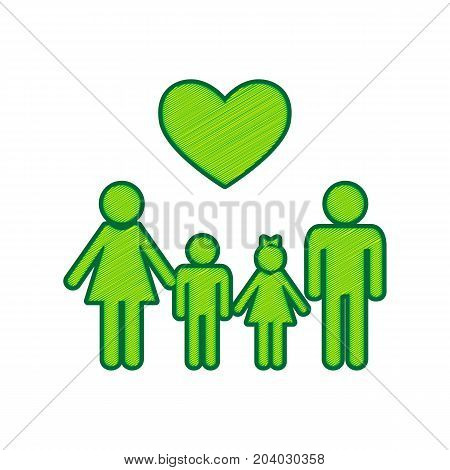 Family symbol with heart. Husband and wife are kept children's hands. Vector. Lemon scribble icon on white background. Isolated