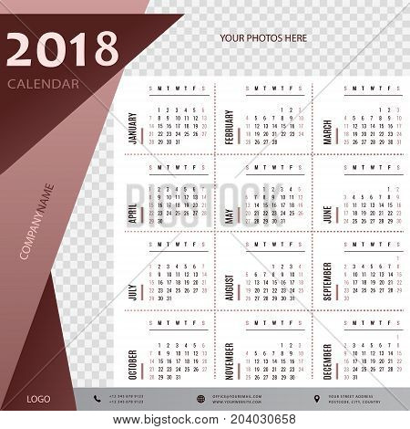 2018 calendar, planner, organizer and schedule template for companies and private use