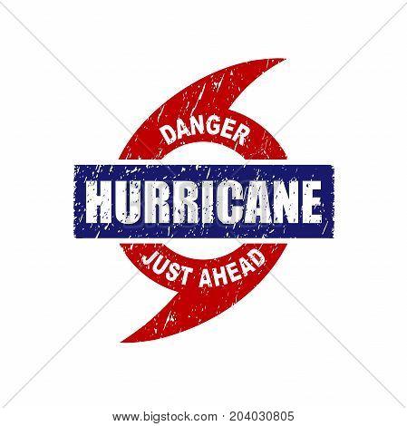 Hurricane Just Ahead Danger Warning Rubber Stamp