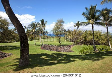 Scenic views of the Pacific Ocean near a golf course on Maui Hawaii