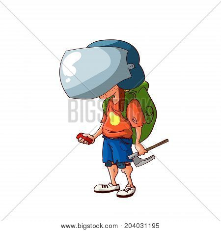 Colorful vector cartoon post apocalyptic survivor illustration