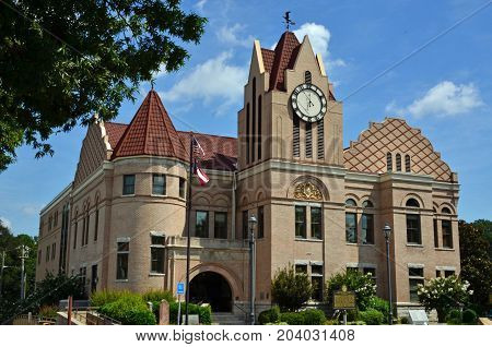 WASHINGTON, GA - August 23, 2017 The Wilkes County Courthouse boasts elaborate details and a Gothic clock tower.