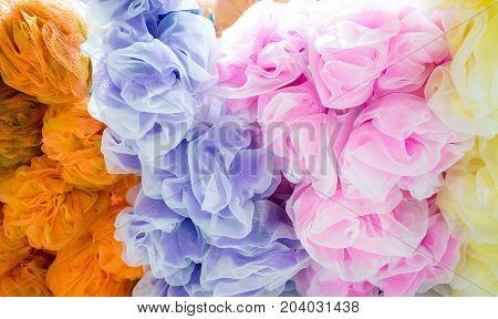 Colorful bath shower wash body exfoliate puff sponge mesh net ball