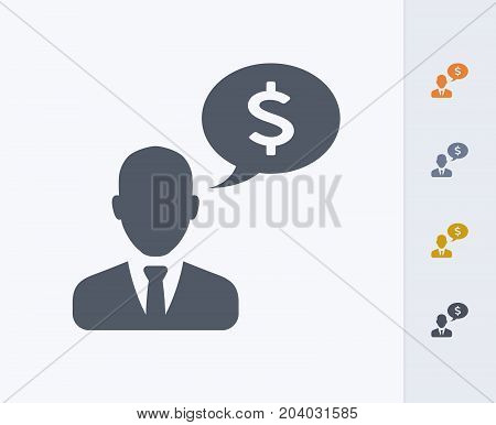 Businessman & Speech Bubble - Carbon Icons. A professional, pixel-perfect icon designed on a 32x32 pixel grid and redesigned on a 16x16 pixel grid for very small sizes