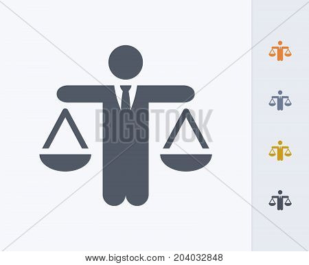 Businessman Holding Scales - Carbon Icons. A professional, pixel-perfect icon designed on a 32x32 pixel grid and redesigned on a 16x16 pixel grid for very small sizes