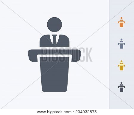Businessman Holding Speech - Carbon Icons. A professional, pixel-perfect icon designed on a 32x32 pixel grid and redesigned on a 16x16 pixel grid for very small sizes