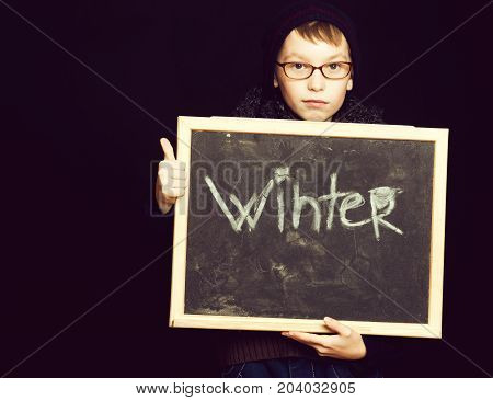 Boy Nerd In Glasses With Blackboard