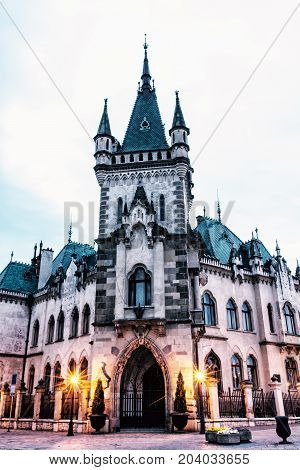 Beautiful Jakab's palace in Kosice city Slovak republic. Evening photo. Architectural scene. Beauty photo filter.