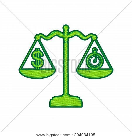 Stopwatch and dollar symbol on scales. Vector. Lemon scribble icon on white background. Isolated