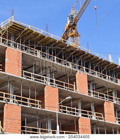 Construction of a new apartment building in the city