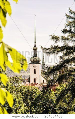Church of St. James in Brno Moravia Czech republic. Religious architecture. Travel destination. Retro photo filter.