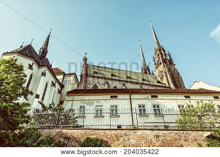 Cathedral of St. Peter and Paul Brno Moravia Czech republic. Religious architecture. Travel destination. Retro photo filter.