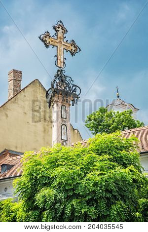 Detail of holy cross in Szentendre Hungary. Religious architecture. Place of worship. Symbolic object.
