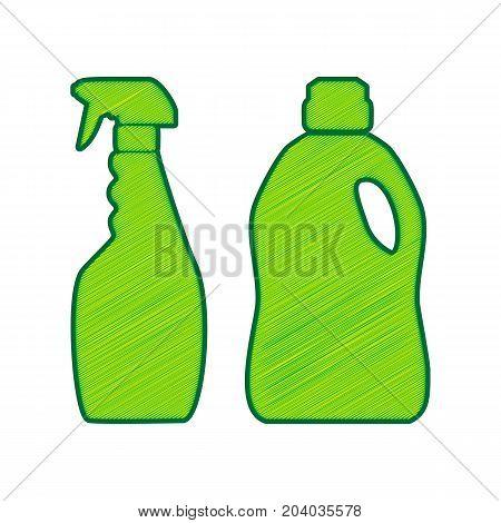 Household chemical bottles sign. Vector. Lemon scribble icon on white background. Isolated