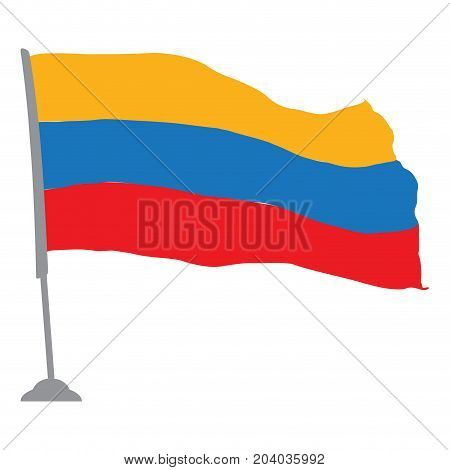 Isolated flag of Colombia on a pole, Vector illustration