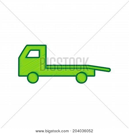 Service of evacuation sign. Wrecking car side. Car evacuator. Vehicle towing. Vector. Lemon scribble icon on white background. Isolated