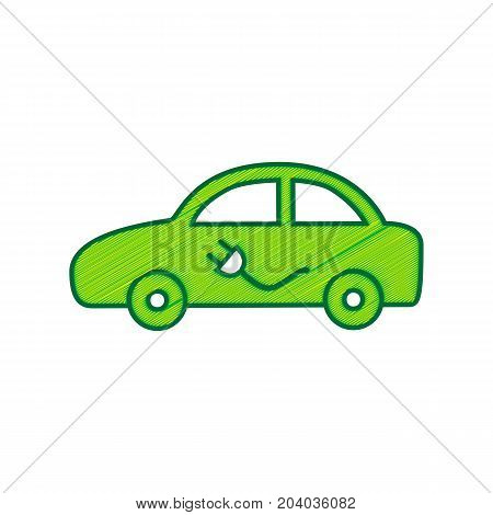 Electric car sign. Vector. Lemon scribble icon on white background. Isolated