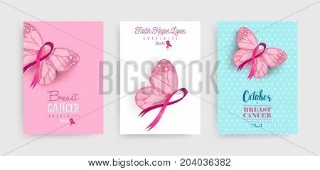 Pink Breast Cancer Butterfly Ribbon Art Poster Set