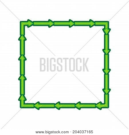 Arrow on a square shape. Vector. Lemon scribble icon on white background. Isolated