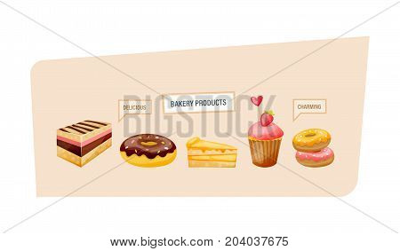 Set of bakery products. Sweet delicious dessert and pastries. Delicious cakes, delicious donuts with glaze, slices of cake, cupcakes with berries. Cake birthday. Vector illustration, isolated.