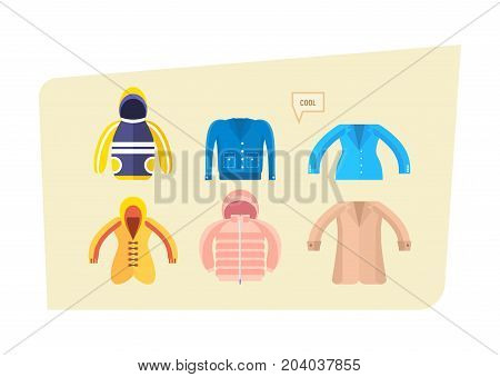 Set of kids beautiful clothes for boys and girls in different weather. Clothes in different times of the year: autumn, winter, spring. Vector illustration isolated.