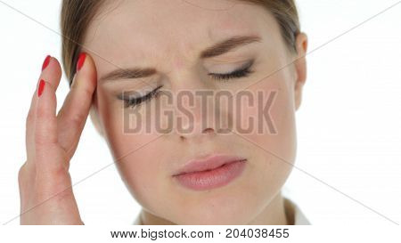 Tense Woman Face, Headache Isolated On White Background