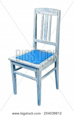 The old chair upholstered with nails blue leatherette on a white background. Isolated