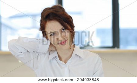 Tired Woman, Neck Pain For Red Hair Woman At Work