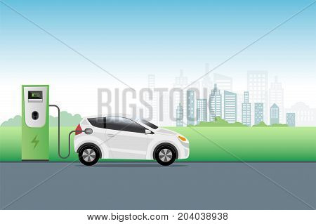 Electric Car Charging At Charger Service Station Front Of Eco City Background. Hybrid Vehicle, Eco F