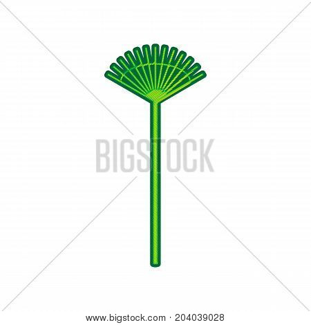 Lawn rake sign. Vector. Lemon scribble icon on white background. Isolated