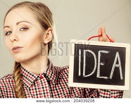Proud Confident Woman Holding Idea Sign