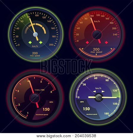 Set of isolated analog gauges with arrows, speedometers showing speed at km h. Car or motorcycle, automobile vehicle dashboard or panel speedometers. Internet download performance theme