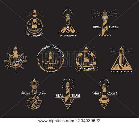 Lighthouse icons with rocks and waves. Sea or ocean beacon with lamp banner and lifebuoy around it. Searchlight on shore. Night hazard optical detection. Nautical and sea, ocean theme