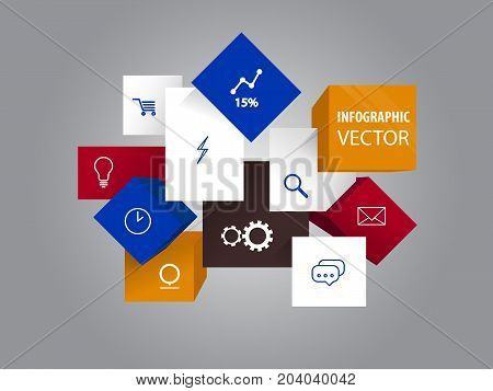 Vector infographic cubes with web icons for mall cart and linear chart or graph, magnifying or zoom glass and chat clouds, envelope and lighting and clocks. Information or info elements, website icons