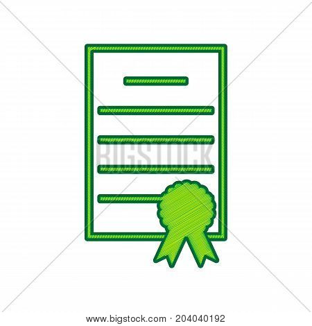 Check mark sign illustration. Vector. Lemon scribble icon on white background. Isolated