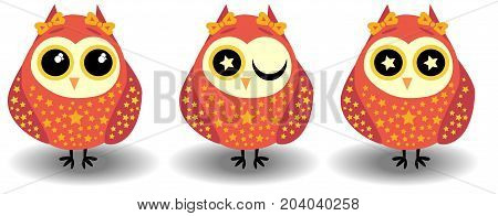 A Set Of Three Lovely Owls-girls In Red Tones In Sprockets, With Bows On Ears And Different Eyes