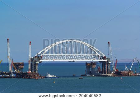 227-metre Arched Span Railway Bridge Under Construction Across The Kerch Strait On The Navigable Par