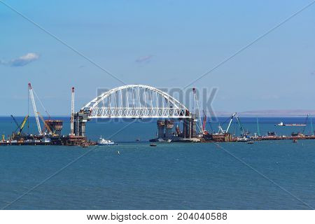 Huge 227-metre Arched Span Railway Bridge Under Construction Across The Kerch Strait On The Navigabl